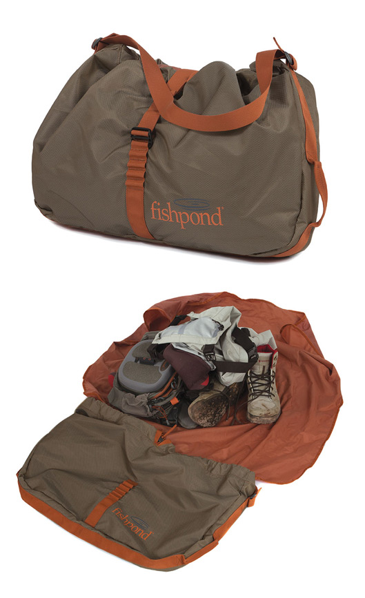 Fishpond Burrito Wader Bag, front and open views.