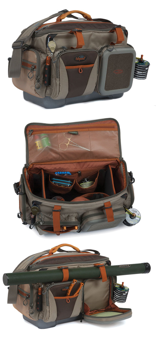Fishpond Green River Gear Bag Front, Open and Rod Tube Attached Views