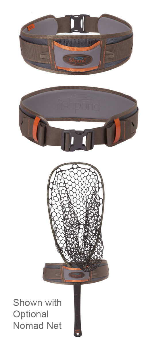 Fishpond West Bank Wading Belt Front, Back and with a Nomad Net