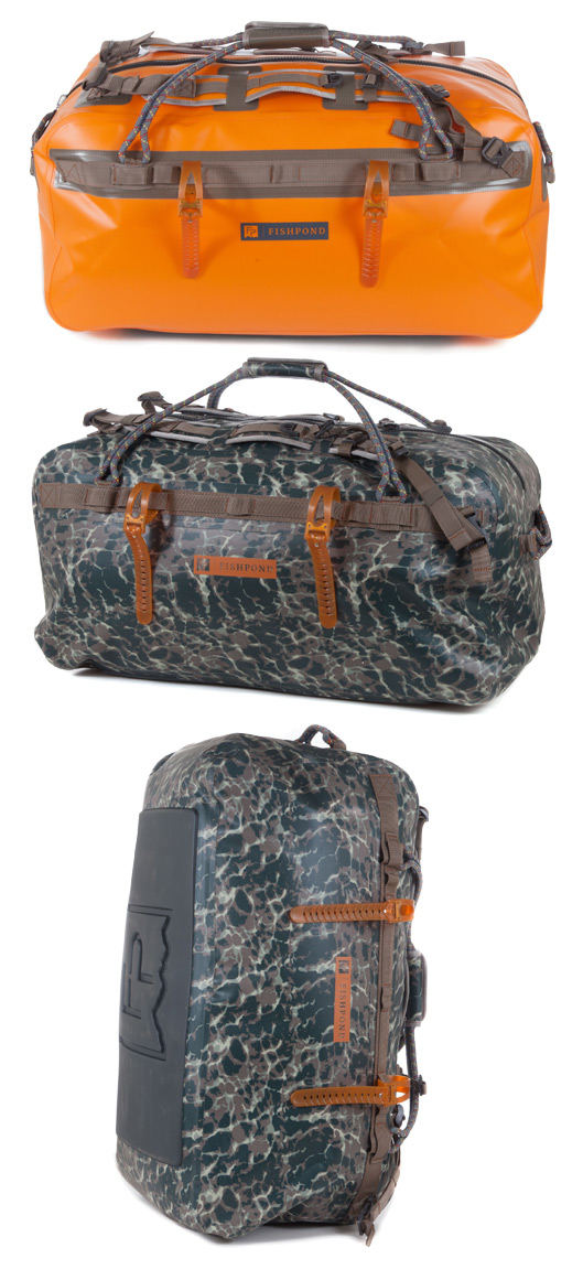 Fishpond Thunderhead Large Submersible Duffel shown in both colors.