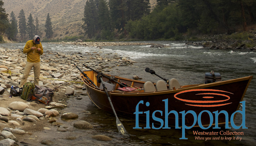 Drift Boat and fly fisherman with Fishpond Logo